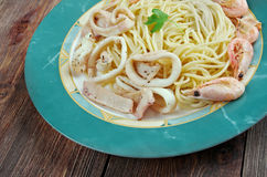 Espaguetis ai frutti di mare Imágenes de archivo libres de regalías
