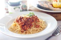 Espaguetis boloñés imágenes de archivo libres de regalías