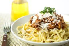 Espaguetis boloñés de las pastas Imagenes de archivo