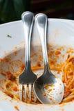 Espaguetis boloñés que come hacia fuera Imagen de archivo libre de regalías
