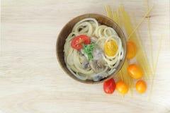 Espaguetis Carbonara Foto de archivo libre de regalías