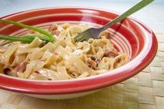 Espaguetis Carbonara Imagen de archivo libre de regalías