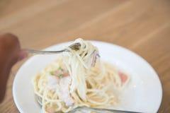 Espaguetis Carbonara Fotos de archivo libres de regalías