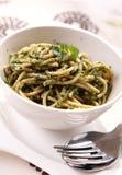 Espaguetis con espinaca Foto de archivo libre de regalías