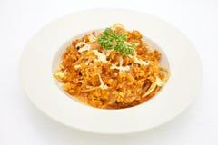 Espaguetis con la salsa boloñesa Fotos de archivo libres de regalías