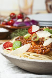Espaguetis con la salsa de la carne Fotografía de archivo