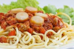Espaguetis con la salsa de tomate Foto de archivo
