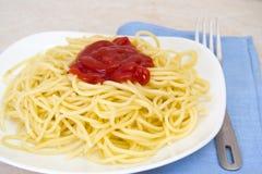 Espaguetis con la salsa de tomate en un cuenco con una fork. Imagen de archivo libre de regalías
