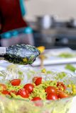 Espaguetis con la salsa del pesto y el tomate de cereza Fotografía de archivo libre de regalías