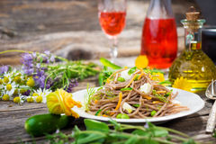 Espaguetis con la verdura Fotos de archivo libres de regalías