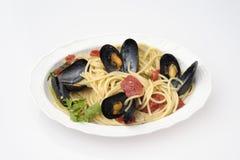 Espaguetis con los mejillones Fotografía de archivo