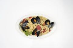 Espaguetis con los mejillones Foto de archivo