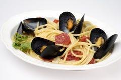 Espaguetis con los mejillones Imagen de archivo
