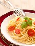 Pastas con los tomates frescos Foto de archivo