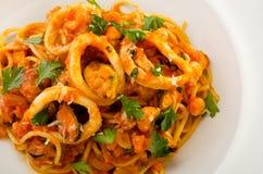 Espaguetis de los mariscos Imagen de archivo libre de regalías