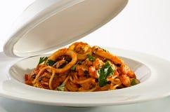 Espaguetis de los mariscos Fotos de archivo libres de regalías