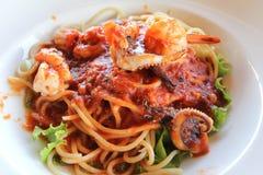Espaguetis de los mariscos Foto de archivo libre de regalías
