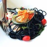 Espaguetis de los mariscos Imagenes de archivo