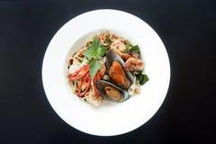 Espaguetis de los mariscos Imágenes de archivo libres de regalías
