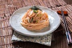 Espaguetis del estilo japonés Fotografía de archivo