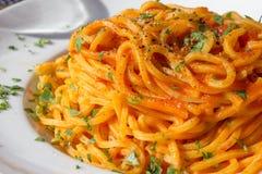 Espaguetis en atmósfera soleada foto de archivo libre de regalías