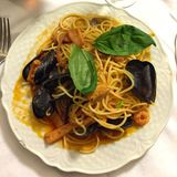 Espaguetis frutti di mare Fotos de archivo