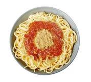Espaguetis italianos con la salsa boloñesa Fotografía de archivo