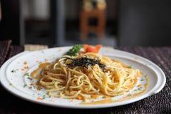 Espaguetis japoneses de Mentaiko de las pastas Imagen de archivo libre de regalías