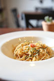 Espaguetis japoneses de Mentaiko de las pastas Imagenes de archivo