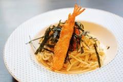 Espaguetis japoneses de Mentaiko de las pastas Fotografía de archivo