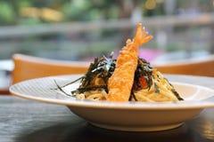 Espaguetis japoneses de Mentaiko de las pastas Imágenes de archivo libres de regalías