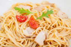 Espaguetis (pastas) con el prendedero del pollo Imagenes de archivo