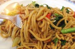 Espaguetis picantes sofritos Imagenes de archivo