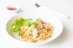 Espaguetis sofritos con el pollo y el huevo y huevo Imagen de archivo libre de regalías