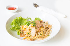 Espaguetis sofritos con el pollo y el huevo y huevo Foto de archivo