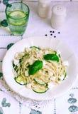 Espaguetis vegetarianos de la ensalada de pasta Recetas de las pastas Imágenes de archivo libres de regalías