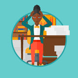 Espair de la mujer de la desesperación que se sienta en oficina stock de ilustración