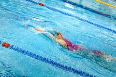 espalda femenina de la natación del nadador en piscina Fotografía de archivo libre de regalías