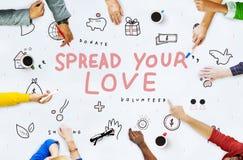 Espalhe seu conceito do apoio da caridade das doações do amor