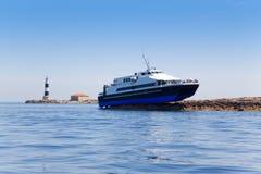 Espalmador Formentera wyspy promu wypadek Obrazy Royalty Free