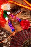 Espana d'Espagne avec le peigne rose de flamenco de fan de drapeau Images libres de droits