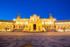 Espana Plaza i Sevilla Spain Arkivfoto