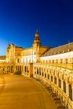 Espana Plaza i Sevilla Spain på skymning Fotografering för Bildbyråer