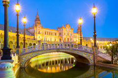 Espana Plaza Sevilla Spain. Spanish Square espana Plaza in Sevilla Spain at dusk stock photo