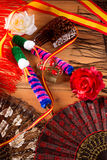 Espana from Spain with flag rose fan flamenco comb Royalty Free Stock Images