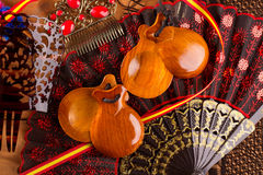 Espana typical from Spain with castanets flamenco elements. Espana typical from Spain with castanets rose fan bullfighter and flamenco comb Royalty Free Stock Photos