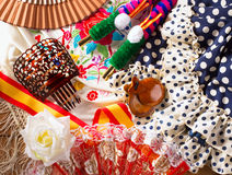 Espana typical from Spain with castanets rose flamenco fan Stock Photos