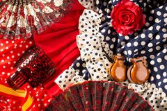 Espana typical from Spain with castanets rose flamenco fan Stock Image