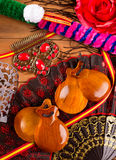 Espana typique d'Espagne avec des éléments de flamenco de castagnettes Images stock