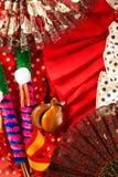 Espana typique d'Espagne avec la fan rose de flamenco de castagnettes Photos stock